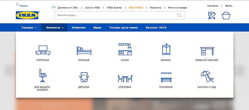Главное меню сайта Ikea с категориями
